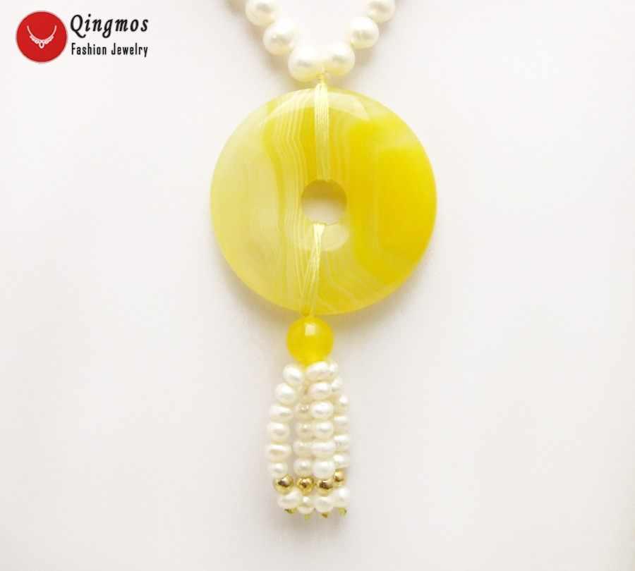 Qingmos Colar Pérola Natural para Mulheres com 6-7mm Branco Rodada de água doce da Pérola & 40mm Donuts Forma Amarelo ágatas Jóias Pingente de Colar