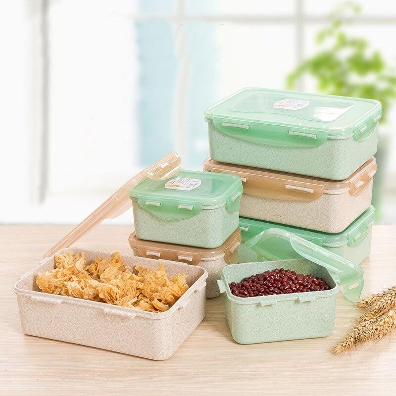 Mrosaa 1PC Wheat Straw Lunch Box Refrigerator Microwavable Food