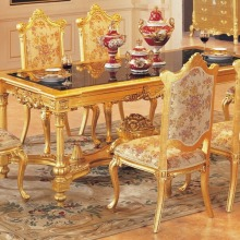 Роскошный обеденный стол набор обеденный стол с 6 стульями деревянная столовая мебель золотой цвет мебель