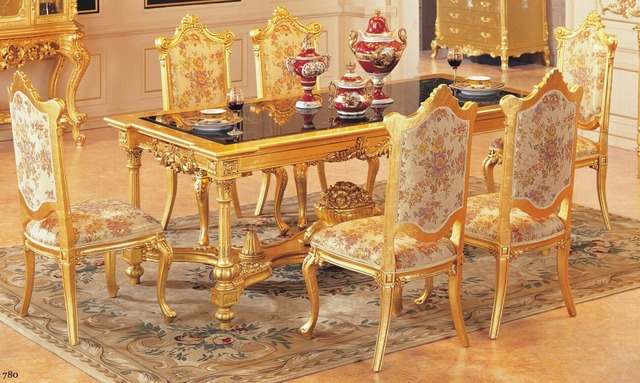 Luxury Dining Table Set With 6 Chairs Wooden Furniture Gold Color