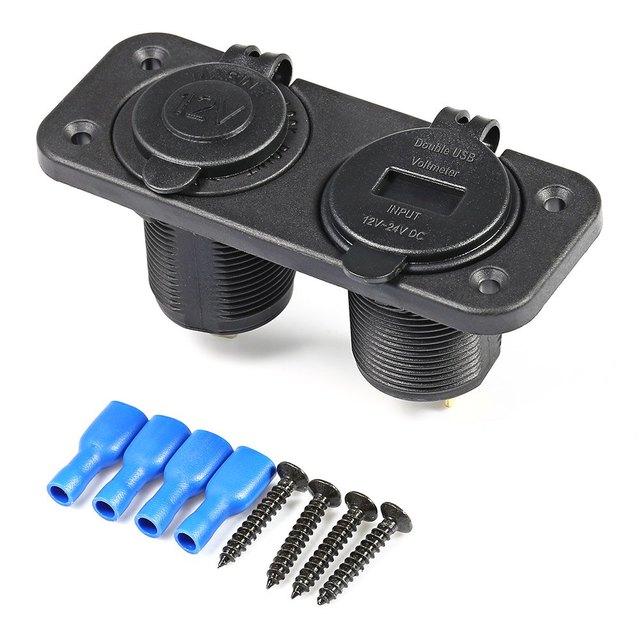 Round Dual USB C931 – Z 12 – 24V Double Hole Panel Marine Socket Vehicle Power Plug Voltmeter Cigarette Lighter Water Resistant