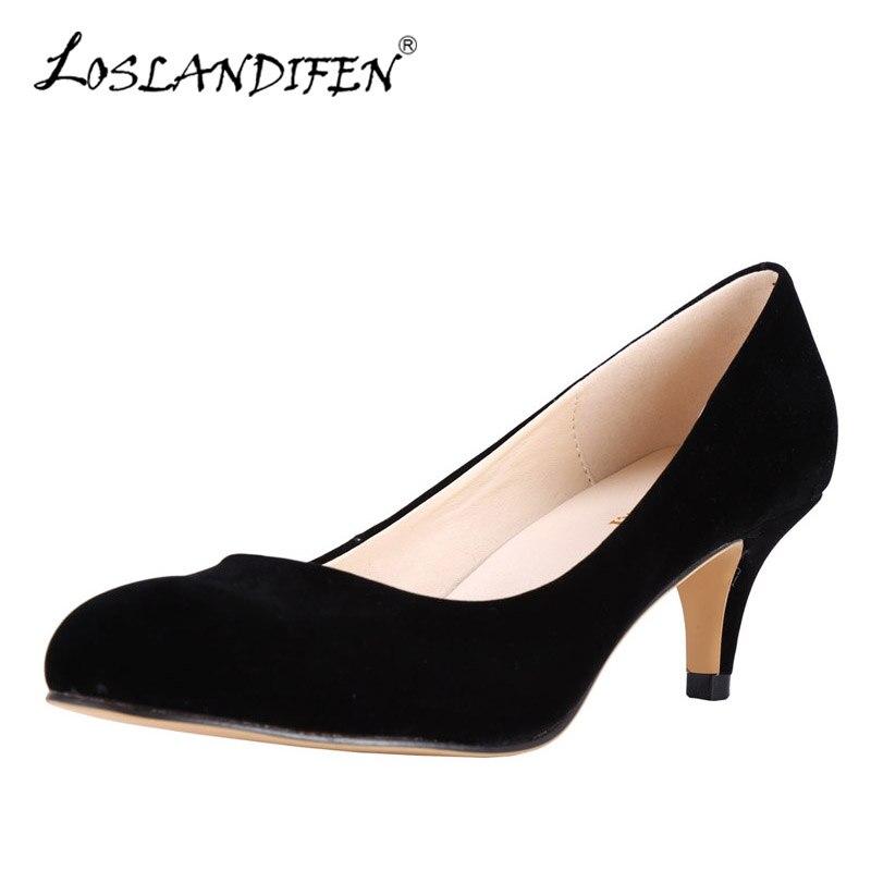 LOSLANDIFEN Candy Color Women Pumps Fashion Flock Shallow High Heels Shoes Summer Autumn Dress Party Shoe Woman Black Work Pumps