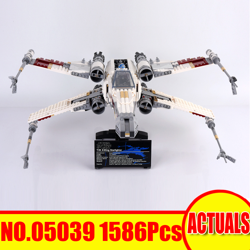 Lepin 05039 1586Pcs Star Wars Figures The X-wing Red Five Starfighter Model Building Kits Set Blocks Bricks Toy Compatible 10240 a toy a dream lepin 15008 2462pcs city street creator green grocer model building kits blocks bricks compatible 10185