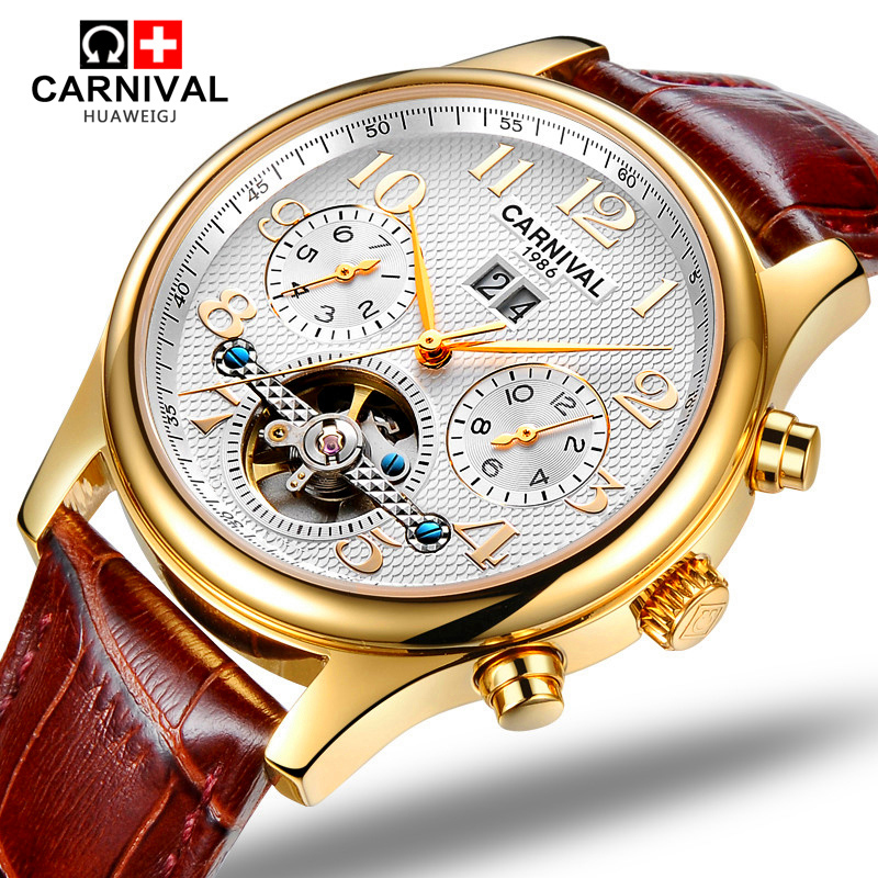 Carnival Mens tourbillon waterproof Watch Gold Automatic Mechanical Sapphire Glass date leather Sport Watches relogio masculine 2018 ailang sapphire automatic mechanical watch mens top brand luxury waterproof brown genuine leather watch relogio masculine