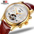 Carnival Mens tourbillon waterproof  Watch Gold Automatic Mechanical Sapphire Glass date leather Sport Watches relogio masculine