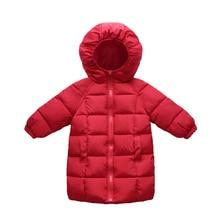 hot deal buy 2018 new winter baby girls cotton jacket children 90% cotton padded coat solid zipper kid hooded outerwear coats boy parkas 1-5t