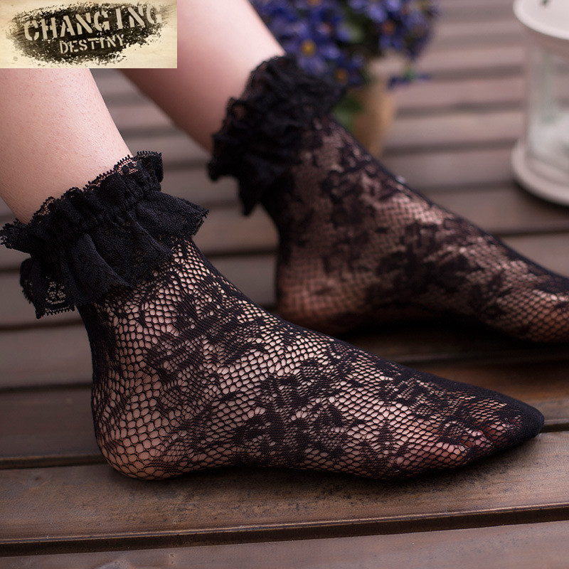 Sexy Retro Lace Women Girl   Socks   Sweet Lolita Princess Lace   Socks   Elastic Fashion Lady Soft Black Lace Ruffle Short Ankle   Socks