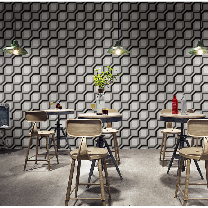 BOSTONIVY Modern 3D Grid Papel De Parede No Self Adhesive Film PVC Wallpaper Bathroom Study Waterproof Wall Paper Sticker 10M beibehang custom 3d cobblestone bathroom floor tile wall sticker 3d wallpaper pvc self adhesive wallpaper papel de parede