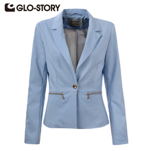 GLO-STORY 2017 New Arrive Spring Slim Women Blazer Coat Casual Women Jacket Long Sleeve One Button Suit Ladies Blazers Work Wear