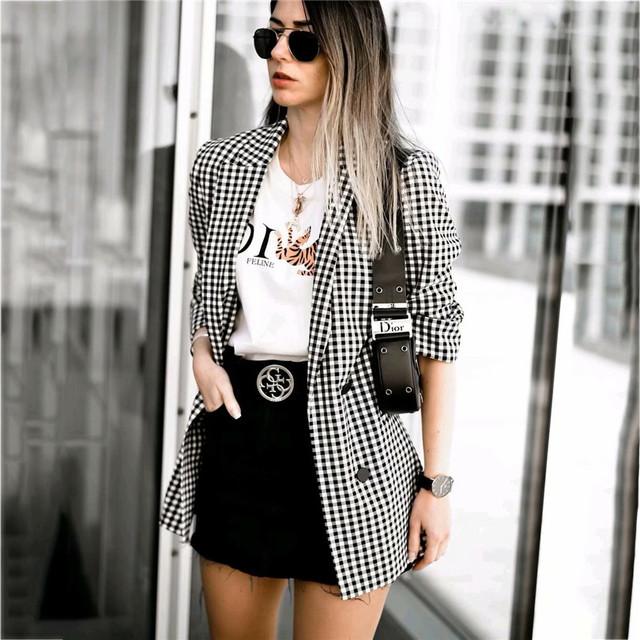 Kobiety elegancki czarny biały plaid żakiet z dzianiny dresowej trzy czwarte rękawem kieszeń dekoracji odzież biurowa damska odzież wierzchnia chic topy