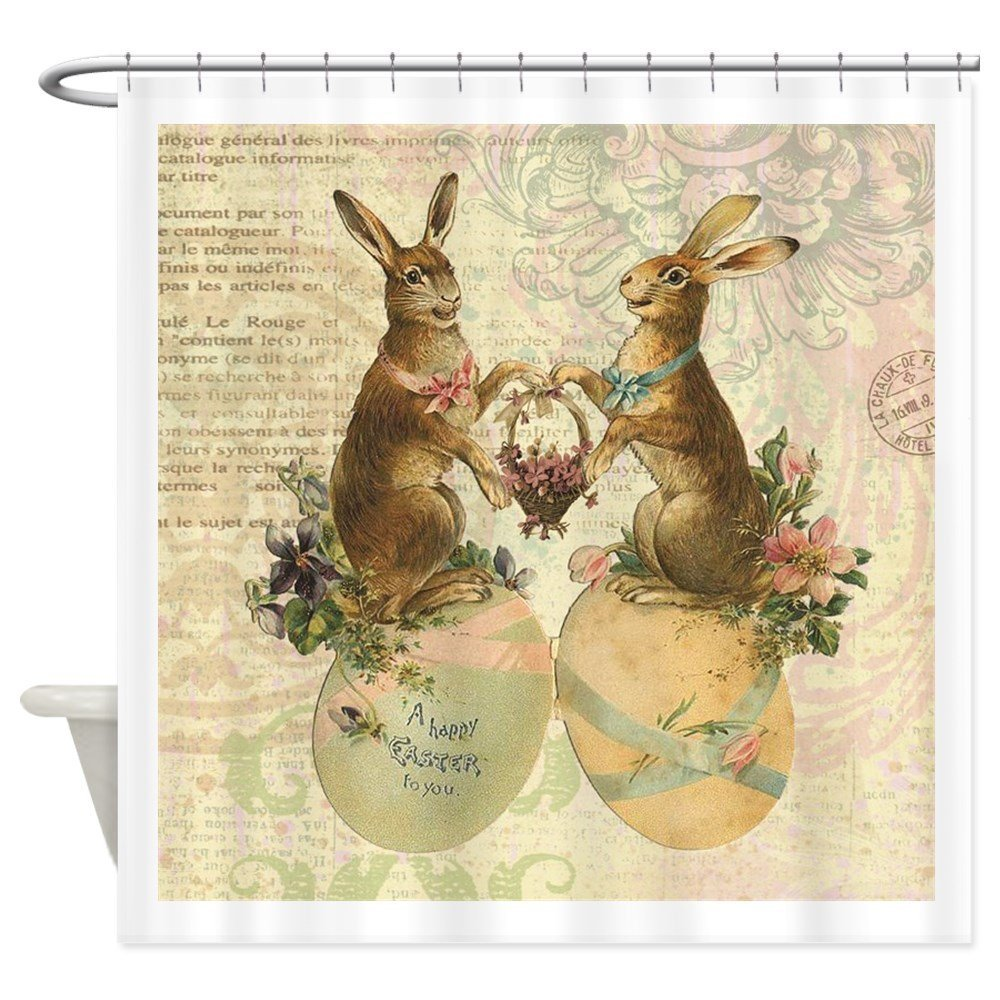 Vintage French Easter bunnies Shower Curtain - Decorative Fabric Shower Curtain ()