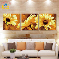 Triptych Diy Coloring Oil Painting By Numbers Sunflowers Wall Decorative Hand Painted Canvas Painting Acrylic Picture