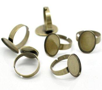 free shipping!!!!!100pcs/lot Bronze Tone Adjustable Ring Settings 18.3mm US 8 (Fit 18x13mm)