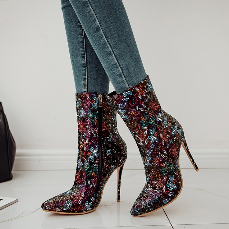 SALCXOI winter women shoes boots Sexy diamond high-heeled shoes ethnic short plush female fashion mid-calf Martin boots &S-16