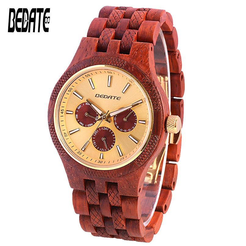 Wood Luxury Watches for Men Quartz Waterproof Watch with Wooden Strap Adjusting Size Christmas Gift Male Wristwatch Family 143A wood business watches with waterproof luminous clock bewell men wooden wristwatch for male watch your family christmas gift 146a