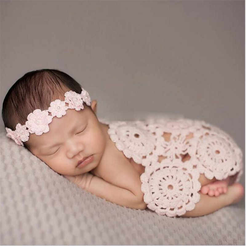 60*70cm Newborn Photography Props ,Crochet Baby Blankets ,Rosette Wrap cloth Baby Pattern Knitte Parquet scarves blankets
