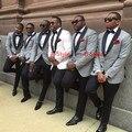 Cinza claro ou Branco Paletó + Calça + Gravata Smoking dos homens com Preto lapela best men suits Custom Made Padrinhos ternos