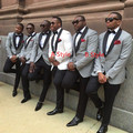 light grey or White Jacket+Pants+Tie mens Tuxedos with Black lapel best men suits Custom Made Groomsmen suits