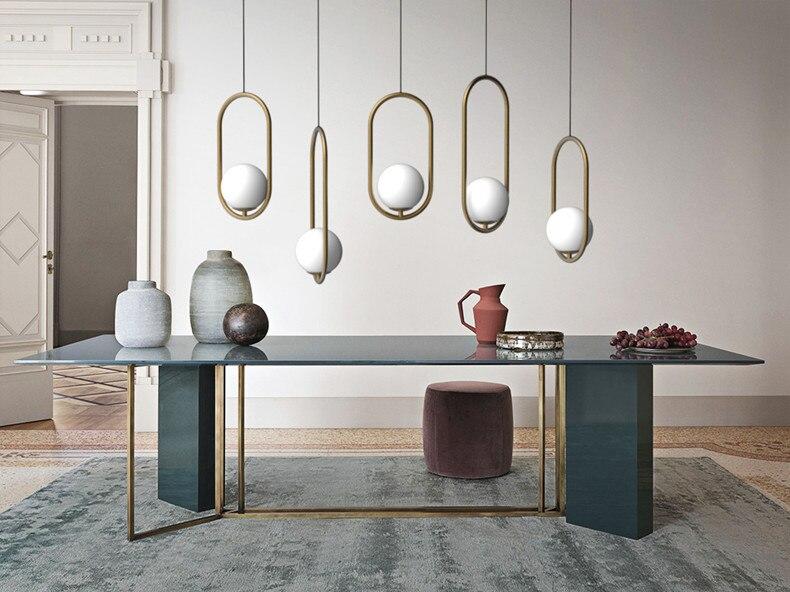 Design nórdico bola de vidro lustre criativo