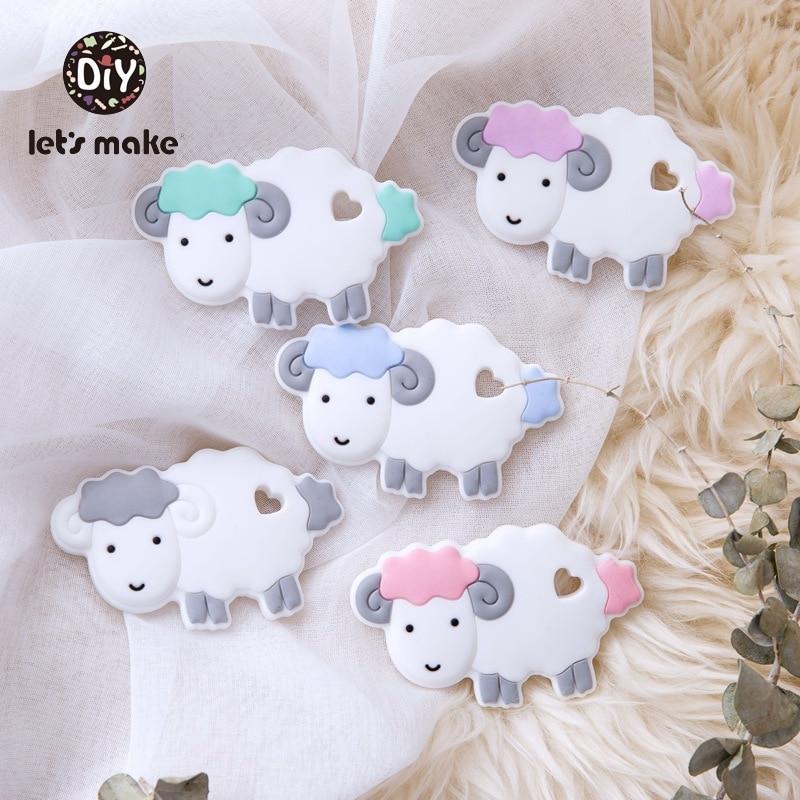 Let's Make Silicone Teether Sheep Cartoon 4-6months 5pcs Wholesale Edible Safety Certificat China BPA Free DIY Teething Toys