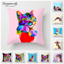 Fuwatacchi 3D Animal Painted Cushion Cover Gradient Cat Dog  Giraffe Pillow Home Sofa Chair Decor Wolf Pillowcases