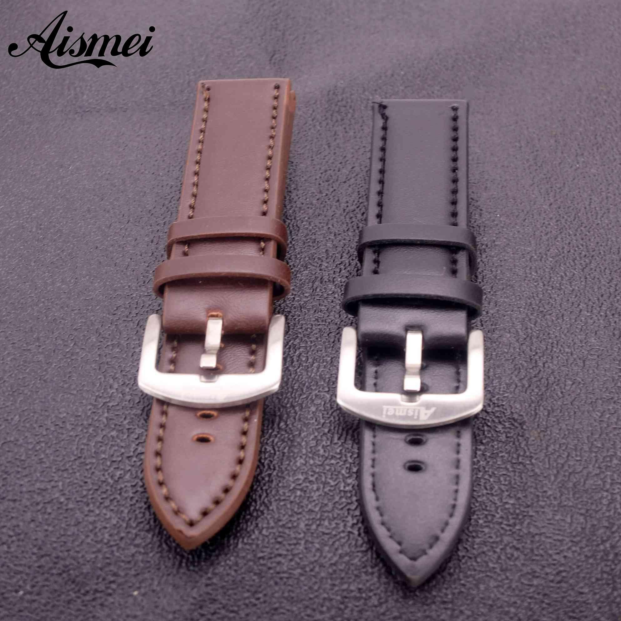 Aismei мужской ремешок для часов из толстой искусственной кожи 22 мм Ремешки для наручных часов высокого качества винтажные серебряные ремешки с пряжкой аксессуары для часов