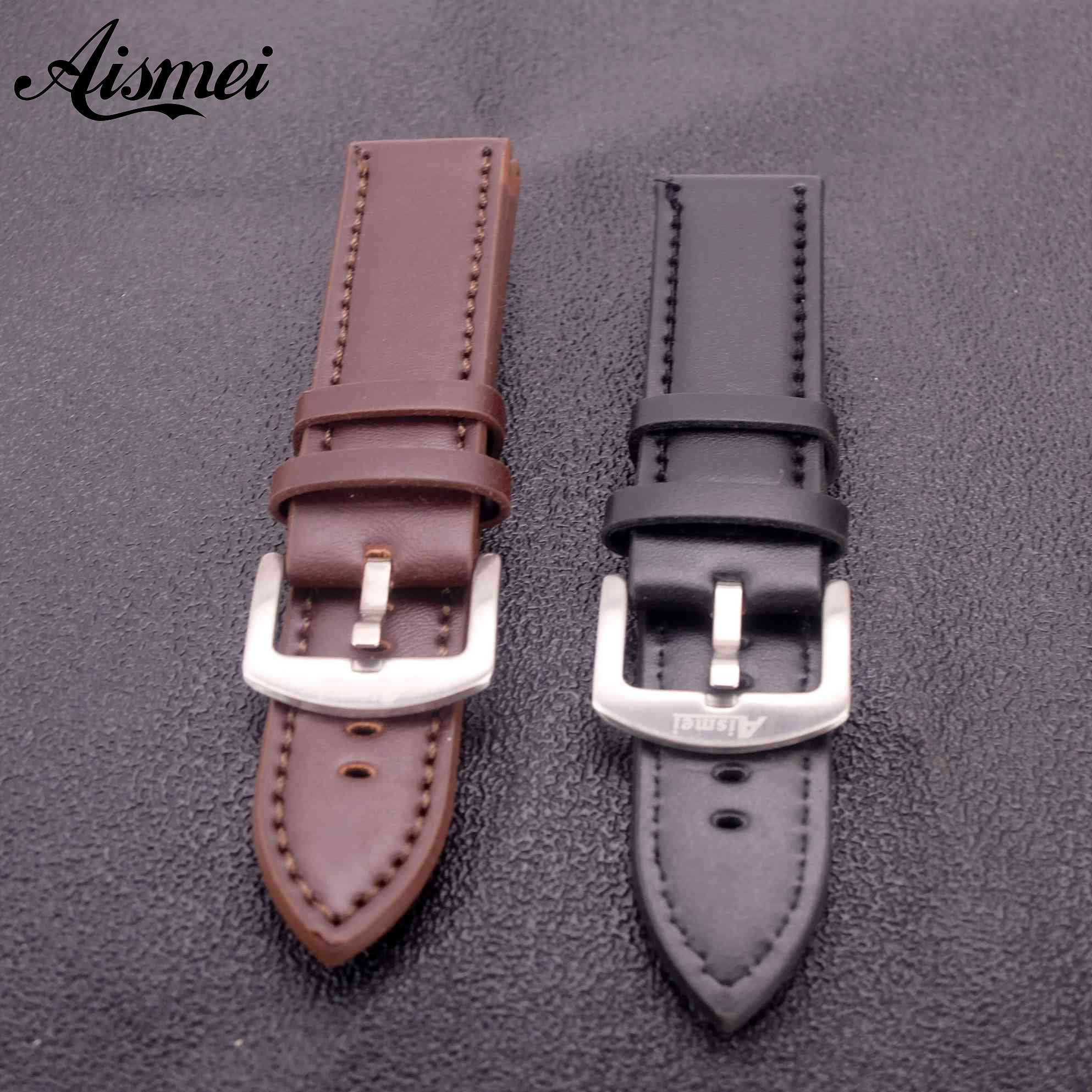 Aismei Men Watch Band Thick PU Leather Straps 22mm Watchbands High Quality Vintage silver Pin Buckle bands Watch Accessories folding buckle watchbands men shigh quality design straps 24mm leather smooth watch band with silver deployment clasp promotion