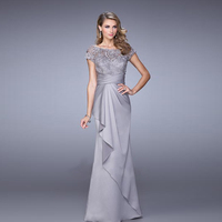 2015 New The Bride Elegant Banquet Grey Lace Long Evening Dress Plus Size Mother Of The