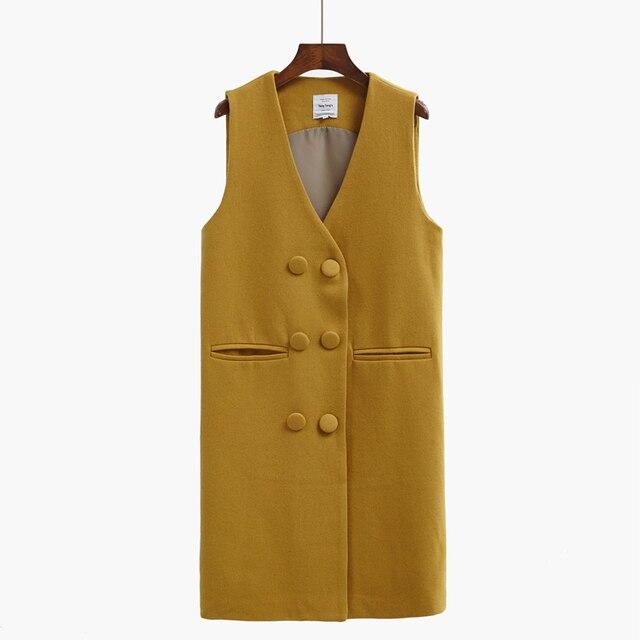 New 2016 Solid Long Style Women Woolen Vest Pockets V-Neck Double Breasted Gilet Feminine Sleeveless Waistcoat Femme Clothing