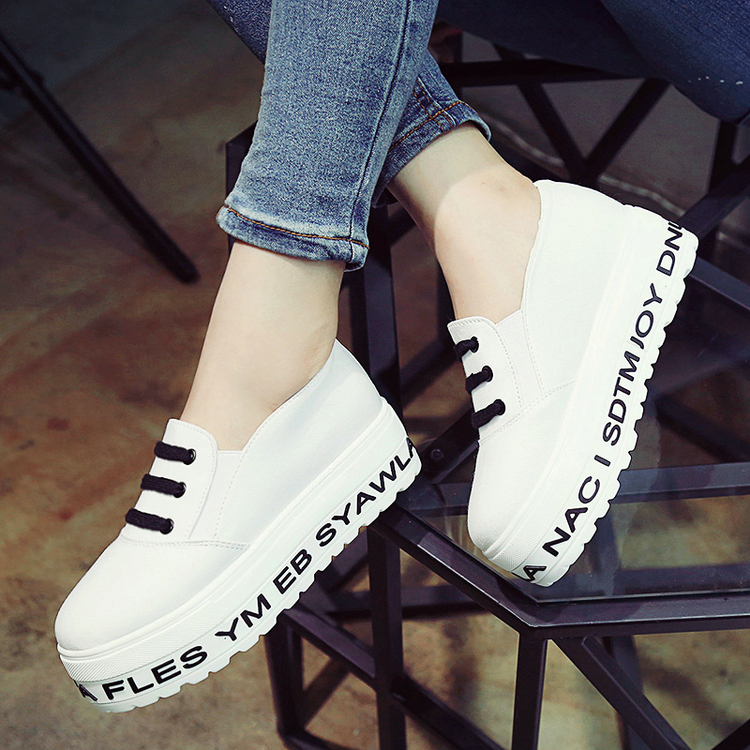 2016 white heavy-bottomed shoes lazy students a pedal canvas doug shoes women solid Loafers shoes 4