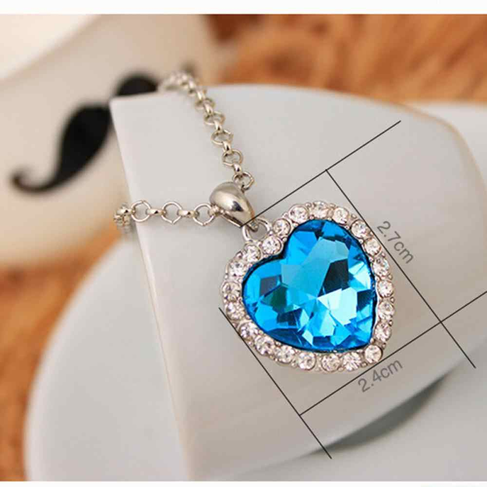 Mini Heart Necklaces Pendant Crystals For Women Girls Gift Silver Color Chain Kids Jewelry Decorations