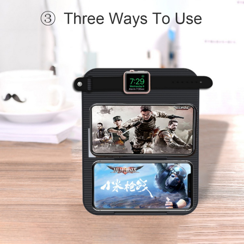 Multifunction 4 in 1 Qi Wireless Chager For iPhone Samsung Fast Charging With 1 USB Port iWatch iPad Intelligent Power Off