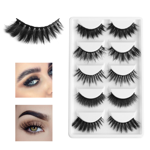 a12990f61c2 5 Pairs Multi pack 3D Soft Mink Hair False Eyelashes Wispy Fluffy Long  Lashes Natural Eye