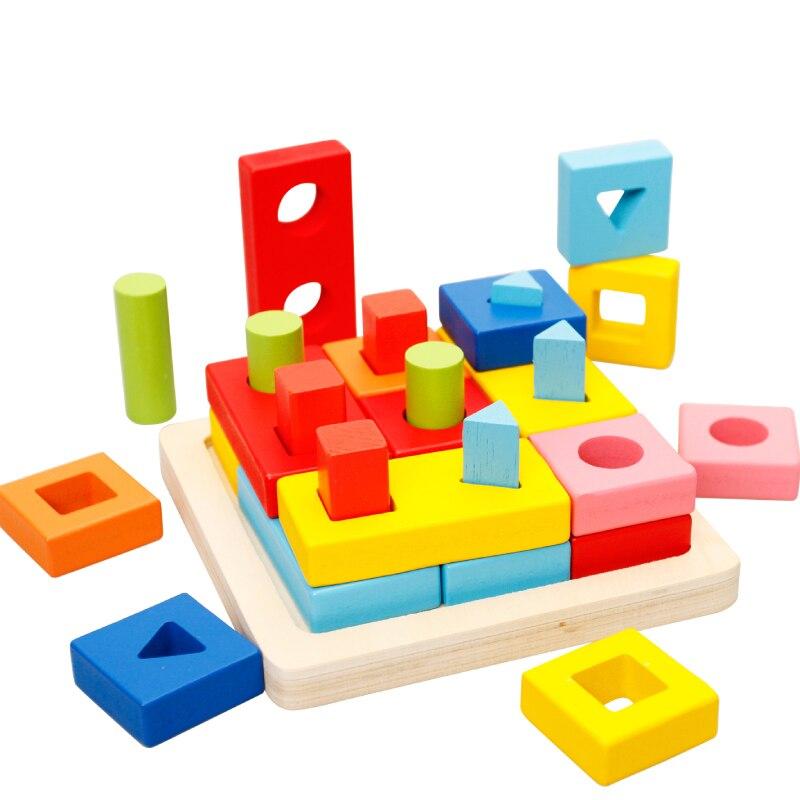 Jouets pour enfants Montessori correspondance géométrique jouets en bois Puzzle cadeaux d'apprentissage précoce