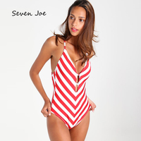 Seven Joe Womens One-Piece Swimsuit White Red Striped Push Up Bikini Bandage Bathing sexy hollow out deep V neck Swimwear