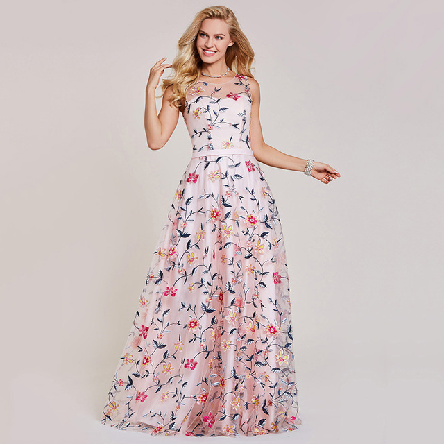 Dressv pink evening dress cheap scoop neck a line embroidery lace floor length wedding party formal dress evening dresses 4
