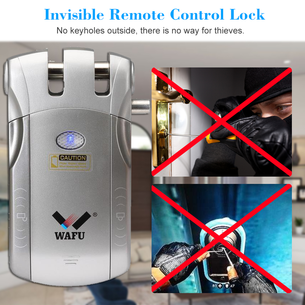 Image 5 - WAFU 010U Wireless Security Invisible Keyless Entry Door Intelligent Lock iOS Android APP Unlocking with 4 Remote Keys-in Electric Lock from Security & Protection