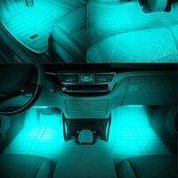 Universal 4pcs Ice Blue LED Strip Lights Car Auto Charge Interior Atmosphere Lamp Decorative Trim Light Lamp