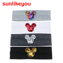Sunlikeyou Cartoon Baby Hair Accessories Cotton Elastic Sequin Newborn Headband Boy Sports Breathable Turban Girl Headbands