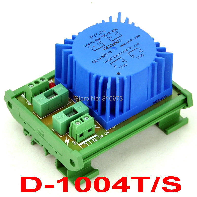 P 230VAC, S 15VAC, 25VA DIN Rail Mount Toroidal Power Transformer Module.