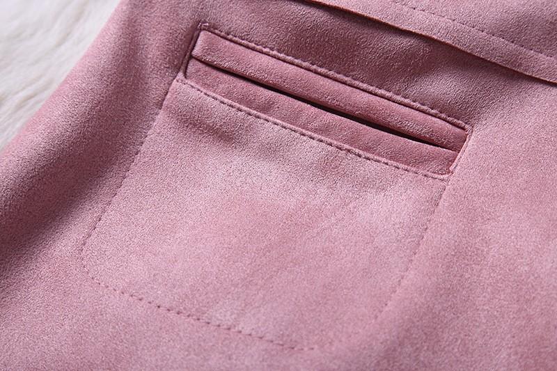 O-Neck Long Sleeve Suede Mini Dress 10