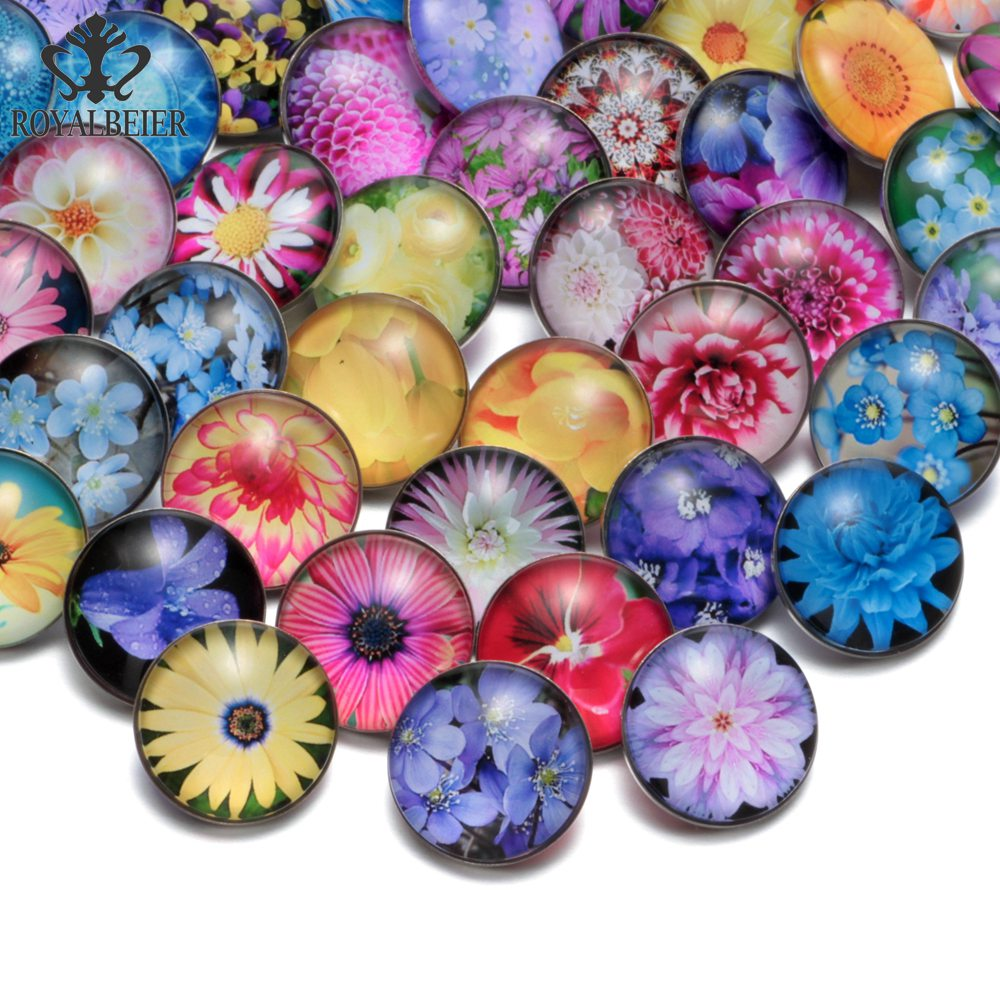 RoyalBeier 50pcs/lot Flower Multi Themes Beautiful Mixed Glass Charms 18mm Snap Button For 20mm Snap Bracelet Snap Jewelry