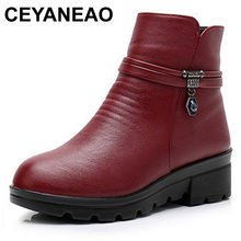 CEYANEAO Women Boots new genuine leather wedge ankle