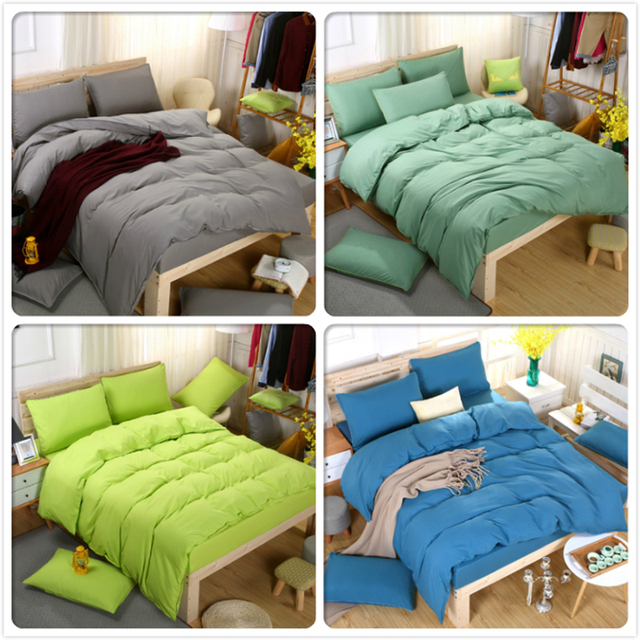 Plain Colour 3pcs/4pcs Bedding Set Student Boy Soft Cotton Bed Linens Single Twin Full Super King Size Duvet Cover Bedlinen 1.5m