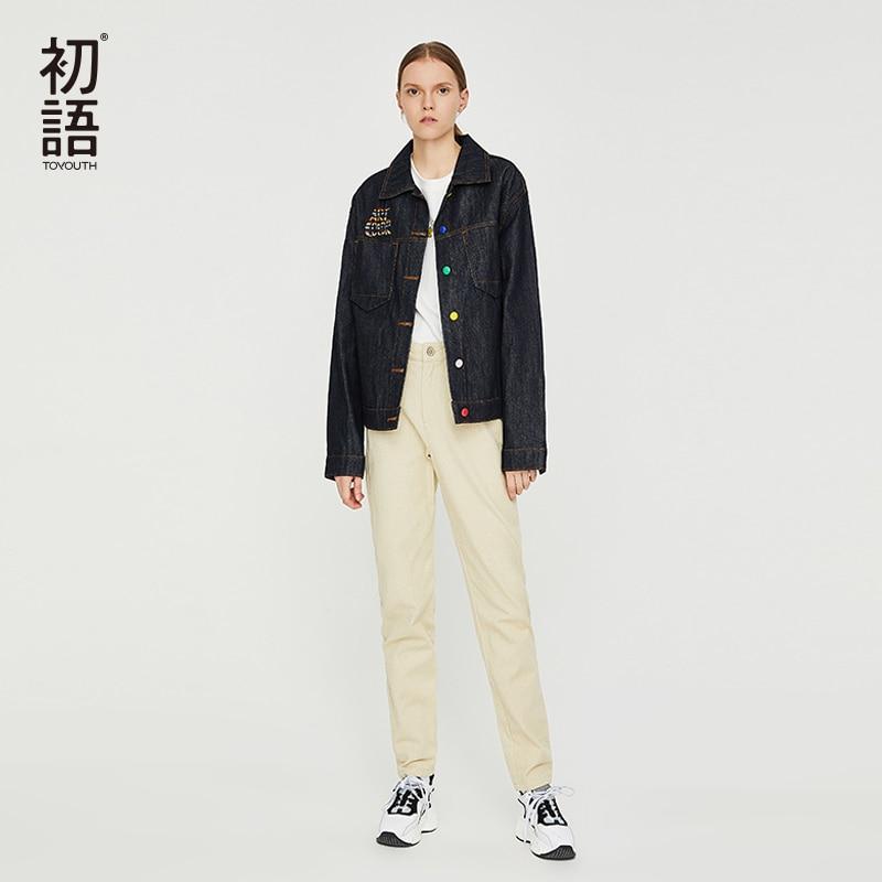 Manteau Black 2019 Denim Vestes Streetwear Veste Petit Décontractée Dames Courte Ami Vintage Hiver Chaud Femmes Jeans Bomber Toyouth waq4XzT87x