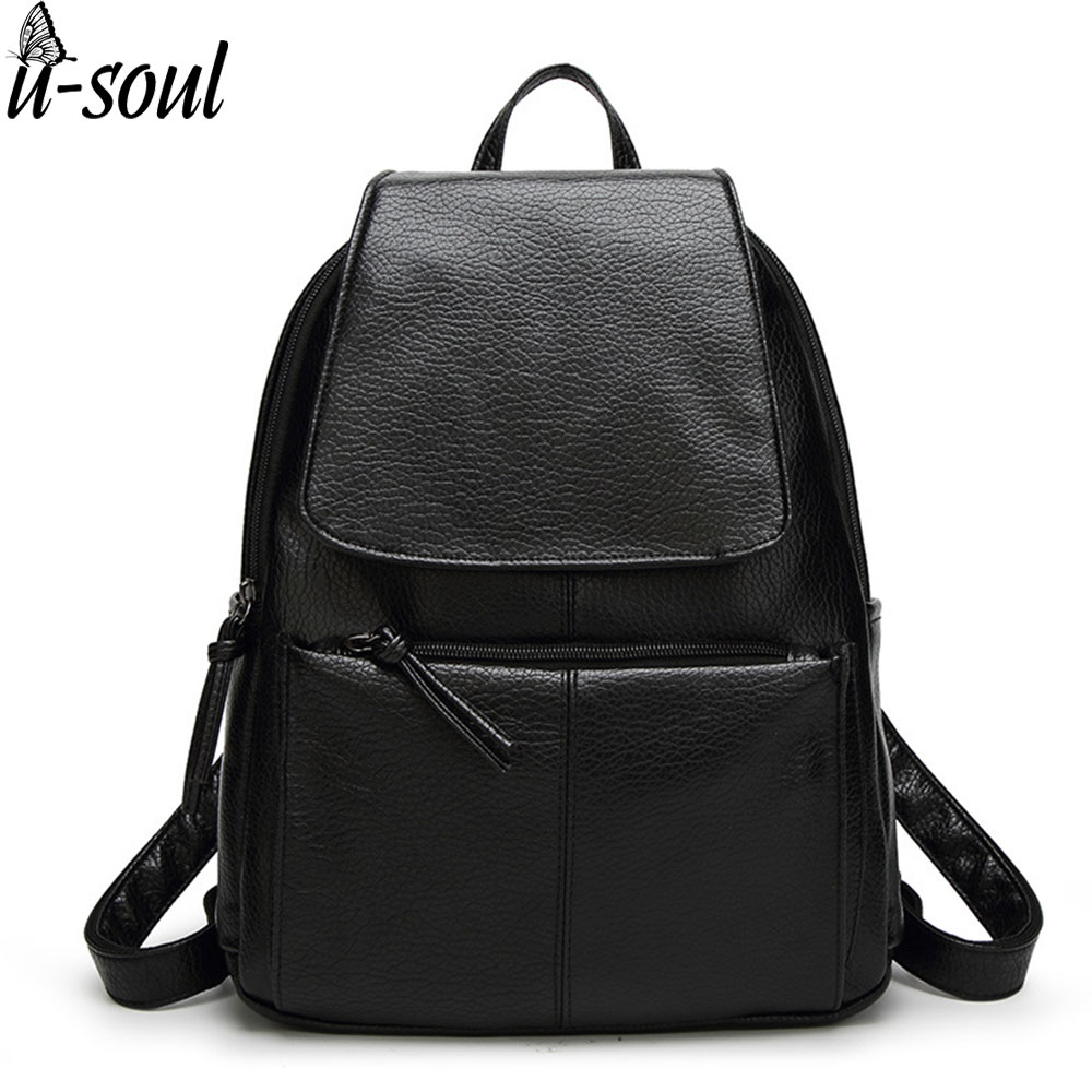 backpack women backpack leather school bag women casual style simple color black preppy student backpacks teenage girls A124 primary school students school bag 3 6 candy color preppy style backpack