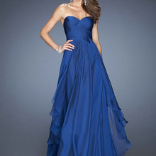High Quality Floor Length Royal Blue Long Prom Party Gowns H