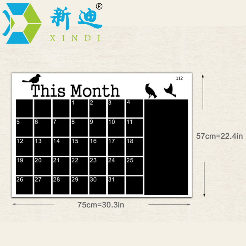 Wand Kalender Aufkleber Büro Tafel PVC Abnehmbare Tafel Monat Plan Memo Schwarz Nachricht Bord Kostenloser Versand