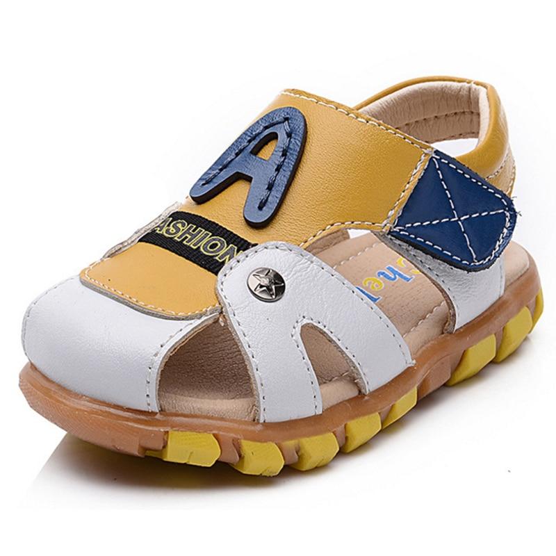 Boys leather sandals soft soled shoes for children infant