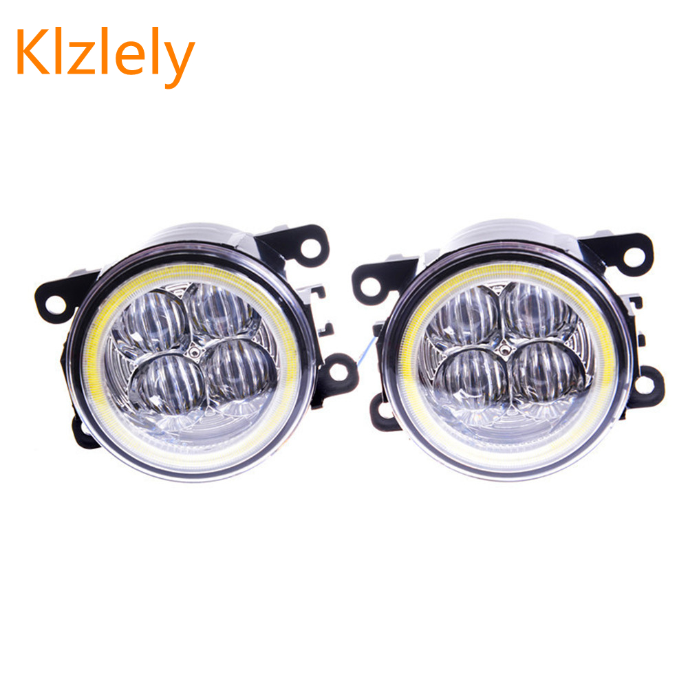 Fog Lamp Assembly Angel Eyes Fog Light For Mitsubishi L200 Outlander Pajero Grandis Galant 2003-2015 Led Fog Lights 1set for mitsubishi l200 outlander 2 pajero 4 grandis 2003 2015 car styling angel eyes drl led fog lights 9cm spotlight ocb lens